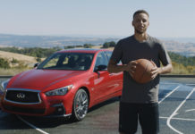Basketballstar Stephen Curry vor einem Infiniti-Auto