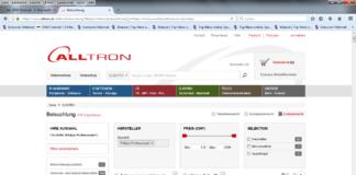 Screenshot von Alltron-Webseite mit Philips-Sortiment