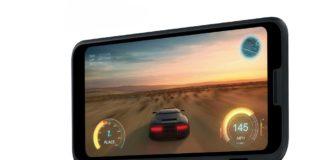 Aufgeklapptes Smartphone von LG
