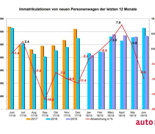 Graphik Neuwagenverkäufe 1. Halbjahr 2019